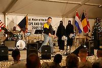 the Taliban cheerleader perform at Kandahar, USO show<br /><br />really the Dallas Cowboy cheerleaders, introduced by Al Franken