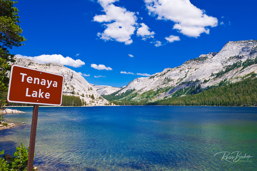 Tenaya Lake and sign, Tuolumne Meadows area, Yosemite National Park, California