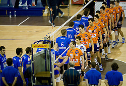Players of ACH and Knack Roeselare before volleyball match between ACH Volley (SLO) and Knack Roeselare (BEL) at Quarterfinals of CEV Challenge Cup 2011/2012, on February 8, 2012 in Arena Tivoli, Ljubljana, Slovenia. ACH Volley defeated Knack Roeselare 3-0. (Photo By Grega Valancic / Sportida.com)