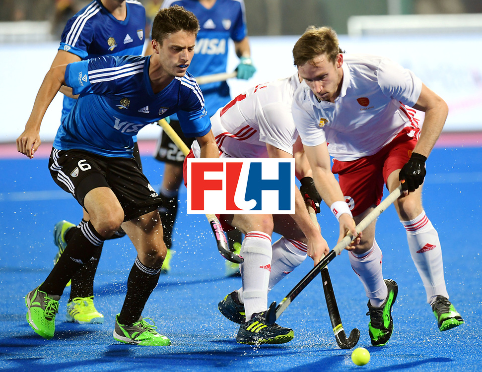 Odisha Men's Hockey World League Final Bhubaneswar 2017<br /> Match id:14<br /> England v Argentina<br /> Foto: Santiago Tarazona (Arg), Liam Ansell (Eng) and Harry Martin (Eng) <br /> COPYRIGHT WORLDSPORTPICS FRANK UIJLENBROEK