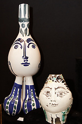 © licensed to London News Pictures. LONDON, UK  08/06/2011. Vases made by Picasso on sale at the Olympia International Fine Art & Antiques Fair with a value of up to £100,000. In total 30,000 items are on sale from 150 dealers and each is vetted for authenticity by a panel of experts. The show opens in Olympia tomorrow (Thursday) and runs for 11 days. Please see special instructions for usage rates. Photo credit should read CLIFF HIDE/LNP
