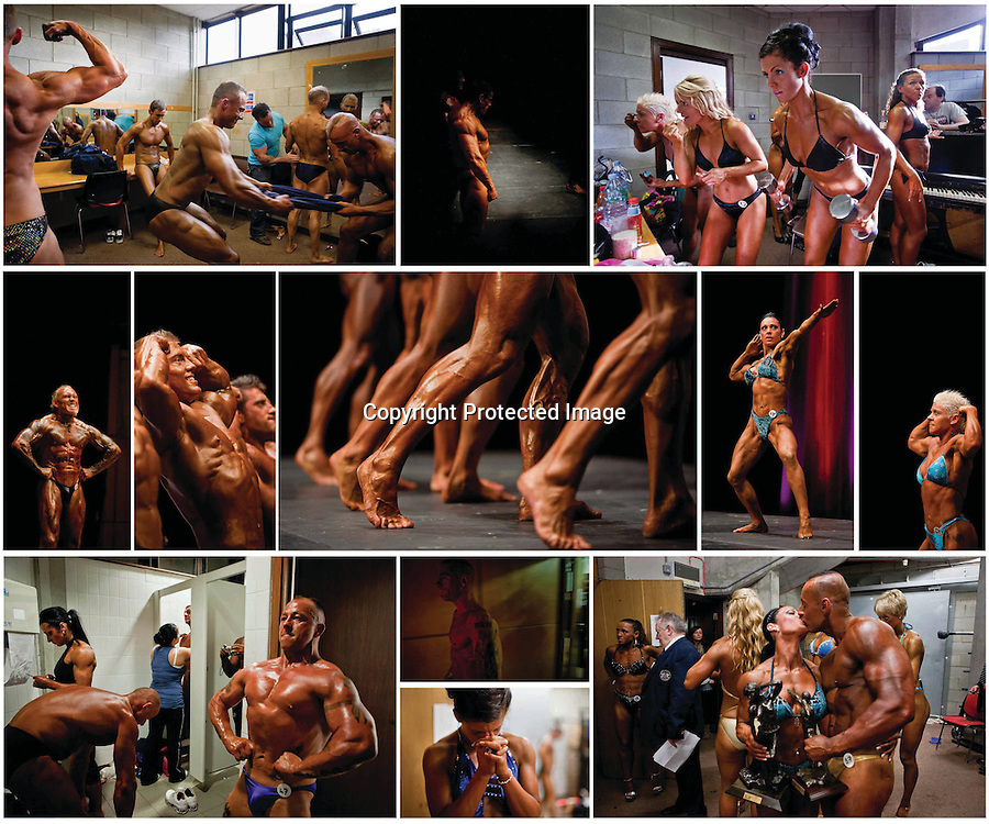 Competitors take part in the RIBBF National Bodybuilding Championships at the University Concert Hall ,Limerick.Ireland.