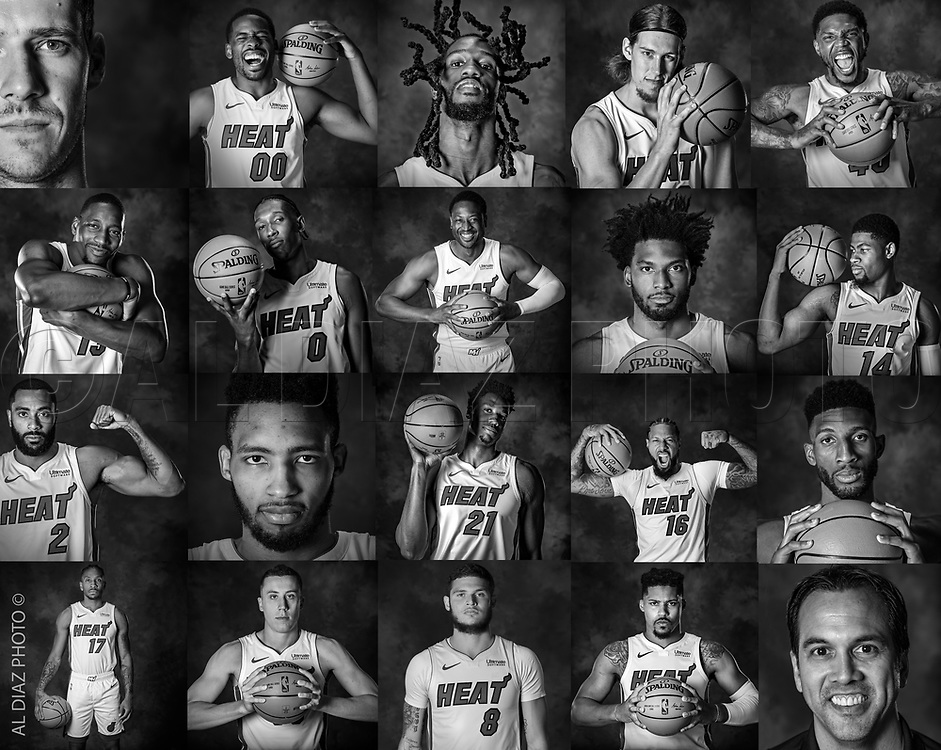 Miami Heat players pose for a portrait before the start of the season during Miami Heat media day at the American Airlines Arena in Miami on Monday, September 24, 2018.