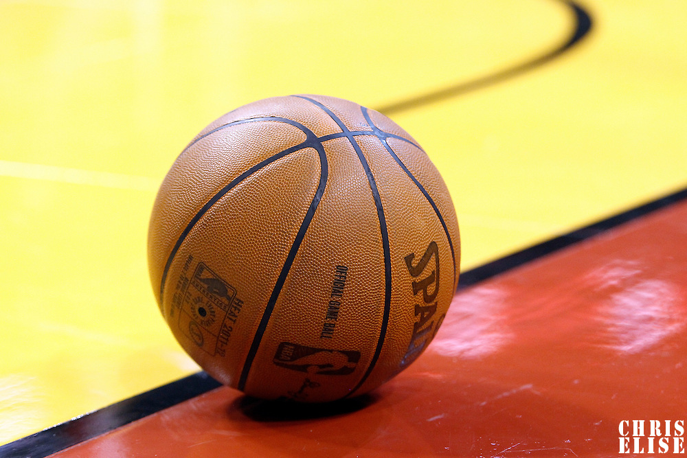 21 January 2012: Close view of a ball on the floor during the Miami Heat 113-92 victory over the Philadelphia Sixers at the AmericanAirlines Arena, Miami, Florida, USA.
