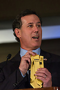 Former Senator Rick Santorum address the Republican Society Patriot Dinner at the Citadel Military College February 22, 2015 in Charleston, South Carolina. Santorum has two children attending the Citadel.