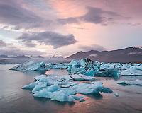 Jökulsárlón glacial lagoon at sunset, Southeast Iceland.