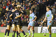 Duhan van der Merwe is congratulated by team mates after scoring try during the 1872 Challenge Cup, Guinness Pro 14 2018_19 match between Edinburgh Rugby and Glasgow Warriors at BT Murrayfield Stadium, Edinburgh, Scotland on 22 December 2018.
