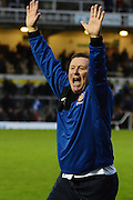Chesham United manager Andy Leese celebrates win during the The FA Cup match between Bristol Rovers and Chesham FC at the Memorial Stadium, Bristol, England on 8 November 2015. Photo by Alan Franklin.
