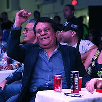 Roberto Duran celebrates during a boxing match at the Hotel El Panama Convention Center on Wednesday, October 31, 2018 in Panama City, Panama. (Alex Menendez via AP)