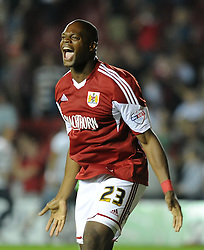 Bristol City's Marlon Harewood celebrates with a win over Bristol Rovers.  - Photo mandatory by-line: Alex James/JMP - Tel: Mobile: 07966 386802 04/09/2013 - SPORT - FOOTBALL -  Ashton Gate - Bristol - Bristol City V Bristol Rovers - Johnstone Paint Trophy - First Round - Bristol Derby
