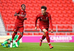 LIVERPOOL, ENGLAND - Tuesday, September 18, 2018: Liverpool's Rhys Williams celebrates scoring the first goal during the UEFA Youth League Group C match between Liverpool FC and Paris Saint-Germain at Langtree Park. (Pic by David Rawcliffe/Propaganda)