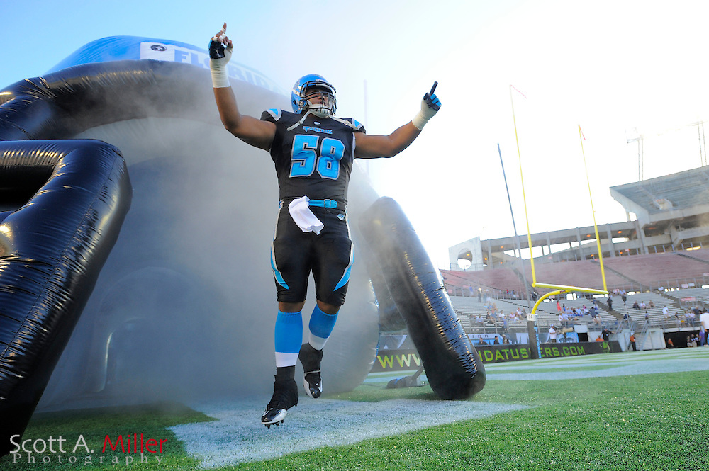 Sep 30, 2010; Orlando, FL, USA; Florida Tuskers offensive lineman Enoka Lucas (58) enters the field prior to the Tuskers game against the Las Vegas Locomotives at the Citrus Bowl. ©2010 Scott A. Miller