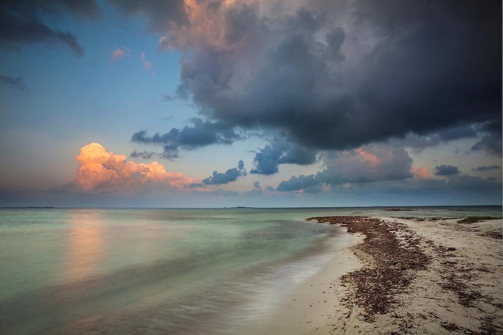 Sunrise on maho island, silk cayes, Belize