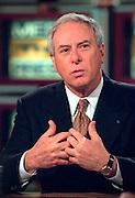 NASA Administrator Daniel Goldin discusses Sen. John Glenn's flight aboard the space shuttle during NBC's Meet the Press November 1, 1998 in Washington, DC.