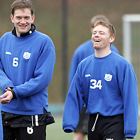 St Johnstone Training...11.02.05<br />New recruit David Bagan having a laugh with ian Maxwell and Robert Sloan during training this morning before facing his old club Queen of the South tomorrow.<br />see story by Gordon Bannerman Tel: 01738 553978 or 07729 865788<br />Picture by Graeme Hart.<br />Copyright Perthshire Picture Agency<br />Tel: 01738 623350  Mobile: 07990 594431