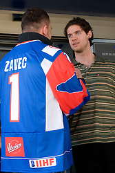 Dejan Zavec and Luka Vidmar at meeting of Slovenian Ice-Hockey National team and boxer Dejan Zavec - Jan Zaveck alias Mister Simpatikus, on April 15, 2010, in Hotel Lev, Ljubljana, Slovenia.  (Photo by Vid Ponikvar / Sportida)