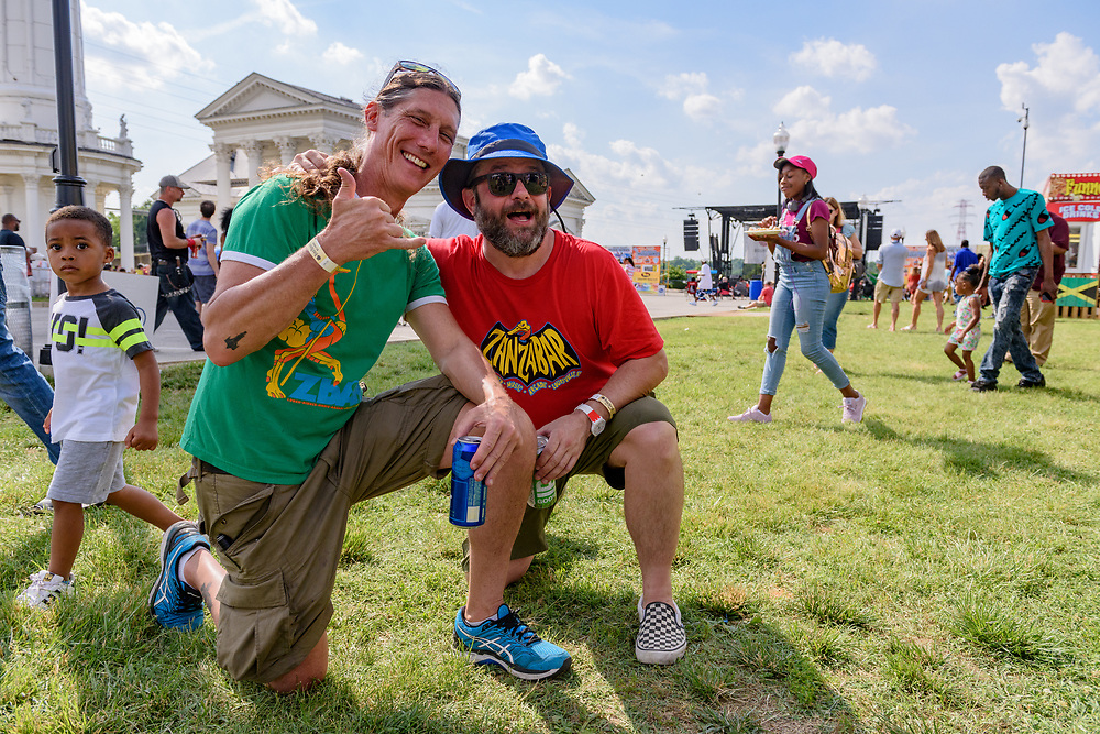 Antz Wettig and Jason Bradley Saturday at the Kentucky Reggae Festival sponsored by Four Roses Bourbon at Louisville Water Tower Park on River Road. May 26, 2018