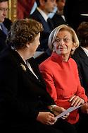 Roma, 28 Aprile  2013.ll governo Letta giura al Quirinale. Anna Maria Cancellieri, Ministro della Giustizia con Emma Bonino Ministro degli Esteri..
