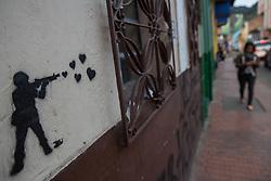 Graffitis und Street Art in Bogota / 220916<br /> <br /> ***         <br /> <br /> Street art and sprayed slogans in the Colombian capital Bogota, Colombia, September 22, 2016 ***