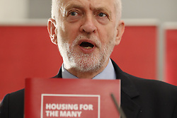 © Licensed to London News Pictures. 19/04/2018. London, UK. Labour Party Leader Jeremy Corbyn speaks on housing policy in Westminster. Photo credit: Peter Macdiarmid/LNP