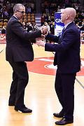 De Raffaele Walter Menetti Massimiliano<br /> Grissin Bon Pallacanestro Reggio Emilia - Umana Reyer Venezia<br /> Lega Basket Serie A 2017/2018<br /> Reggio Emilia, 08/04/2018<br /> Foto A.Giberti / Ciamillo - Castoria