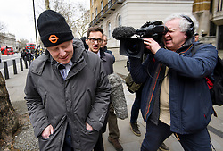 © Licensed to London News Pictures. 19/03/2019. London, UK. BORIS JOHNSON is seen leaving cabinet office. Speaker John Bercow has been heavily criticised for using parliament convention dating back to 1604 to prevent Prime Minster Theresa May holding a third vote on her twice defeated Brexit withdrawal agreement. Photo credit: Ben Cawthra/LNP