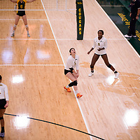 2nd year setter Satomi Togawa (5) of the Regina Cougars in action during Women's Volleyball home game on November 3 at Centre for Kinesiology, Health and Sport. Credit: Arthur Ward/Arthur Images
