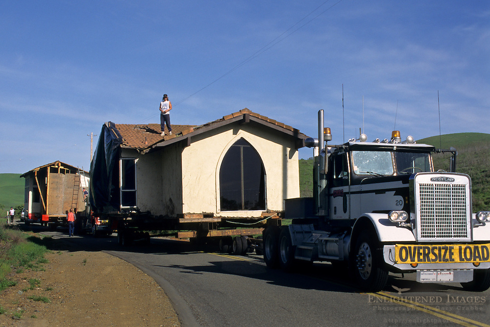 OVERSIZE LOAD - Truck moving a house @ 1 m.p.h., Tassajara Region, Contra Costa County, CALIFORNIA