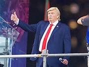 A Donald Trump look a like entertains the crowd in the Cathay Pacific/HSBC Hong Kong 7s at Hong Kong Stadium, Hong Kong, Hong Kong on 7 April 2017. Photo by Ian  Muir.*** during *** v *** in the Cathay Pacific/HSBC Hong Kong 7s at Hong Kong Stadium, Hong Kong, Hong Kong on 7 April 2017. Photo by Ian  Muir.