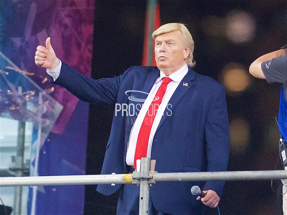 A Donald Trump look a like entertains the crowd in the Cathay Pacific/HSBC Hong Kong 7s at Hong Kong Stadium, Hong Kong, Hong Kong on 7 April 2017. Photo by Ian  Muir.*** during *** v *** in the Cathay Pacific/HSBC Hong Kong 7s at Hong Kong Stadium, Hong Kong, Hong Kong on 7 April 2017. Photo by Ian  Muir.