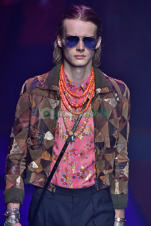 Model Martin Lind walks on the runway during the Gucci Fashion Show during Milan Fashion Week Spring Summer 2018 held in Milan, Italy on September 20, 2017. (Photo by Jonas Gustavsson/Sipa USA)