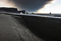 Ashfall from Volcano Eyjafjallajökull on Dyrhólaey beach, South Iceland.