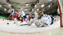 Mikhail Anisin of Russia scores a goal during ice-hockey match between Russia and France in Slovenia Euro ice hockey challenge, on December 15, 2011 at Hala Tivoli, Ljubljana, Slovenia. (Photo By Matic Klansek Velej / Sportida)
