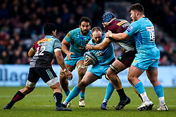 Chris Pennell of Worcester Warriors is tackled - Mandatory by-line: Robbie Stephenson/JMP - 16/02/2019 - RUGBY - Twickenham Stoop - London, England - Harlequins v Worcester Warriors - Gallagher Premiership Rugby