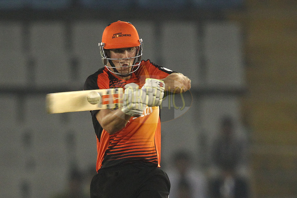 Mitchell Marsh of the Perth Scorchers pulls a delivery through to the boundary during match 4 of the Oppo Champions League Twenty20 between the Dolphins and the Perth Scorchers held at the Punjab Cricket Association Stadium, Mohali, India on the 20th September 2014<br /> <br /> Photo by:  Shaun Roy / Sportzpics/ CLT20<br /> <br /> <br /> Image use is subject to the terms and conditions as laid out by the BCCI/ CLT20.  The terms and conditions can be downloaded here:<br /> <br /> http://sportzpics.photoshelter.com/gallery/CLT20-Image-Terms-and-Conditions-2014/G0000IfNJn535VPU/C0000QhhKadWcjYs