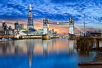 The Shard an der London Bridge ist mit 310 Meter das höchste Gebäude im westlichen Europa. Die Tower Bridge über die Themse in London ist wohl die berühmteste Klappbrücke der Welt.