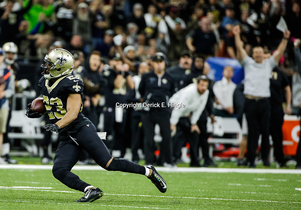 Oct 29, 2017; New Orleans, LA, USA; New Orleans Saints cornerback Marshon Lattimore (23) intercepts a pass against the Chicago Bears during the fourth quarter of a game at the Mercedes-Benz Superdome. The Saints defeated the Bears 20-12. Mandatory Credit: Derick E. Hingle-USA TODAY Sports