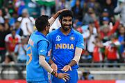 Wicket - Jasprit Bumrah of India celebrates taking the wicket of Sabbir Rahman of Bangladesh during the ICC Cricket World Cup 2019 match between Bangladesh and India at Edgbaston, Birmingham, United Kingdom on 2 July 2019.