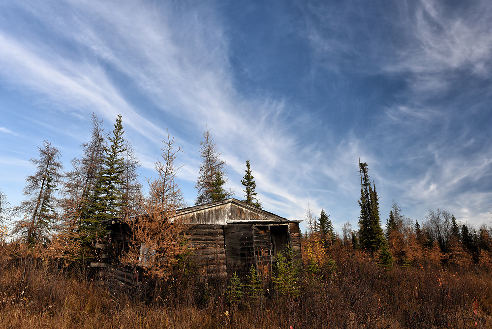 An old cabin sits along the Alaska Highway on an autumn afternoon.