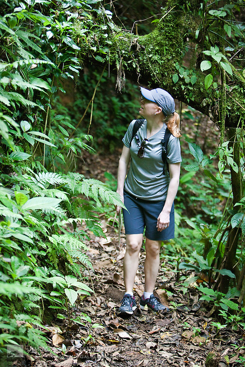 A young woman hikes through the Costa Rican rainforest looking for exotic plants and wildlife.