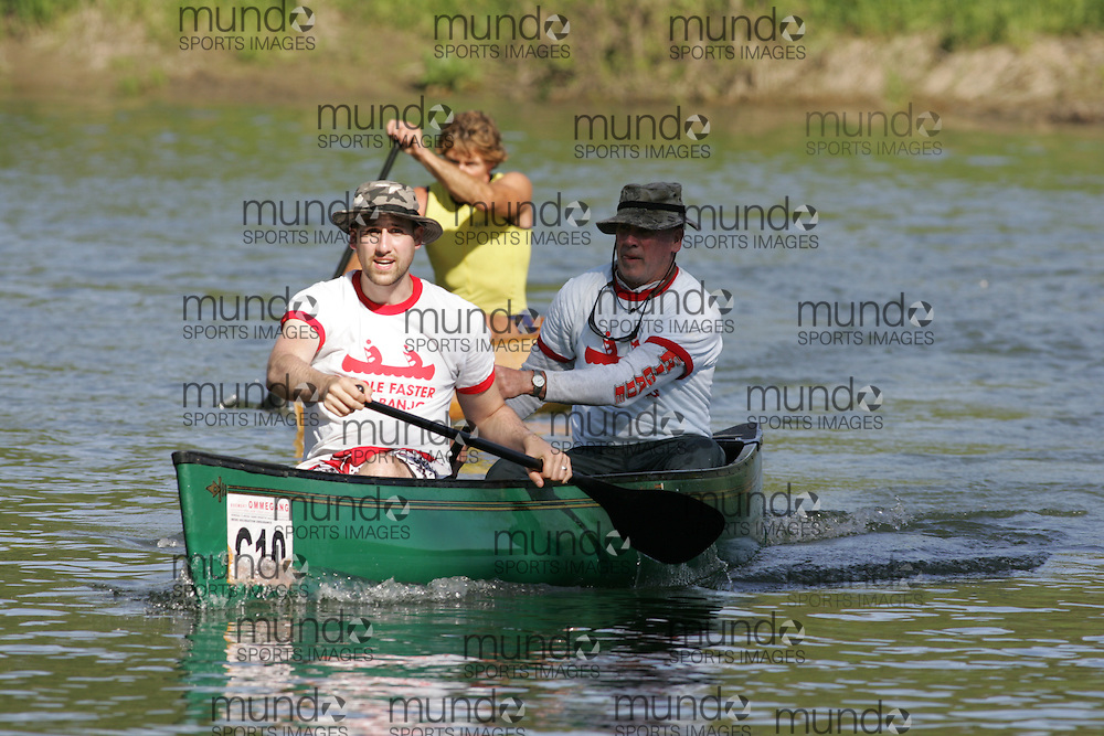 (Cooperstown to Bainsbridge, NY---26 May 2008) The 2008 General Clinton Regatta for Canoes held on 70 miles of the Susquehana River between Cooperstown and Bainsbridge, New York. The boat pictured is C10 JAMES SAWYER, LARRY SAWYER IN THE GENERAL CLINTON CANOE REGATTA 2008