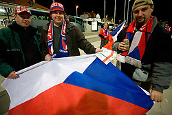 Fans of Czech Republic with tickets for the 8th day qualification game of 2010 FIFA WORLD CUP SOUTH AFRICA in Group 3 between Slovenia and Czech Republic at Stadion Ljudski vrt, on March 28, 2008, in Maribor, Slovenia. Slovenia vs Czech Republic 0 : 0. (Photo by Vid Ponikvar / Sportida)