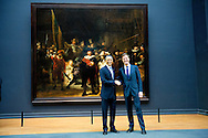 24-3-2014 AMSTERDAM - President  Barack Obama with Mark Rutte visits the Rijksmuseum in Amsterdam and stands for the  Nachtwacht the world famous painting of painter Rembrandt COPYRIGHT ROBIN UTRECHT