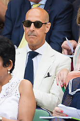 © Licensed to London News Pictures. 12/07/2018. London, UK. Stanley Tucci watches the women's semi-finals round singles draw of the Wimbledon Tennis Championships 2018, at the All England Lawn Tennis and Croquet Club. Photo credit: Ray Tang/LNP