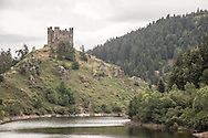 France massif central . ruins of Alleuze castle near the truyere river in cantal department, / les ruines du chateau d'alleuze dans le cantal, au bord de la riviere la truyere