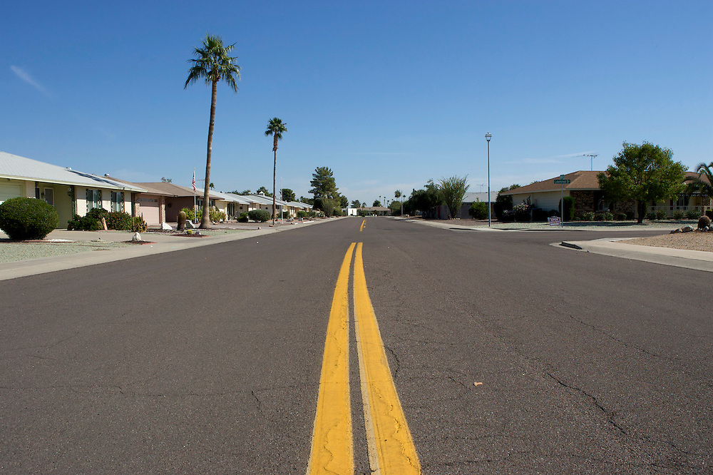 UNITED STATES-SUN CITY- Sun City, a retirement community in Arizona. Empty streets. PHOTO: GERRIT DE HEUS .VERENIGDE STATEN-SUN CITY-  Sun City. Lege straten.  PHOTO GERRIT DE HEUS