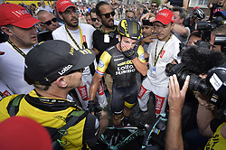 July 14, 2018 - Amiens Metropole, FRANCE - Dutch Dylan Groenewegen of LottoNL-Jumbo celebrates after winning the eighth stage of the 105th edition of the Tour de France cycling race, from Dreux to Amiens Metropole (181 km), in France, Saturday 14 July 2018. This year's Tour de France takes place from July 7th to July 29th. BELGA PHOTO YORICK JANSENS (Credit Image: © Yorick Jansens/Belga via ZUMA Press)