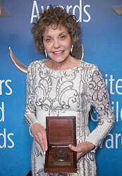 February 17, 2019 - Los Angeles, California, United States of America - Joan Meyerson, winner of the Morgan Cox Award, poses in the press room of the 2019 Writers Guild Awards at the Beverly Hilton Hotel on Sunday February 17, 2019 in Beverly Hills, California. JAVIER ROJAS/PI (Credit Image: © Prensa Internacional via ZUMA Wire)