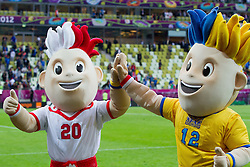 Slavek and Slavko, official mascots of the UEFA EURO 2012 during group C match between Spain and Italy at The Arena Gdansk on June 10, 2012 in Gdansk, Poland.  (Photo by Vid Ponikvar / Sportida.com)