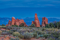 Some of the amazingly beautiful rock formations photographed here at dusk in Arches National Park in Eastern Utah.